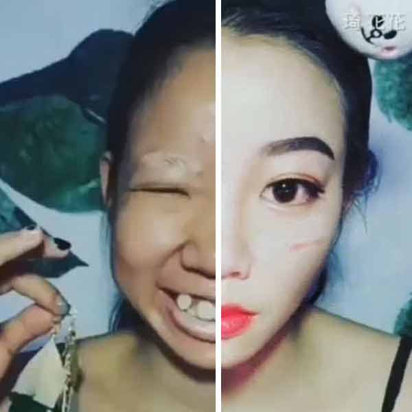 Woman before and after make-up transformation