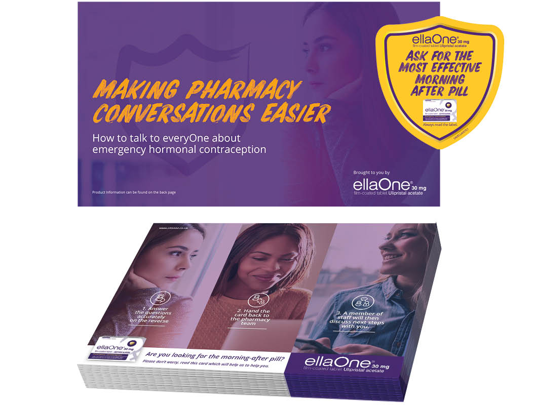 ellaOne training booklet and scratchcard pad